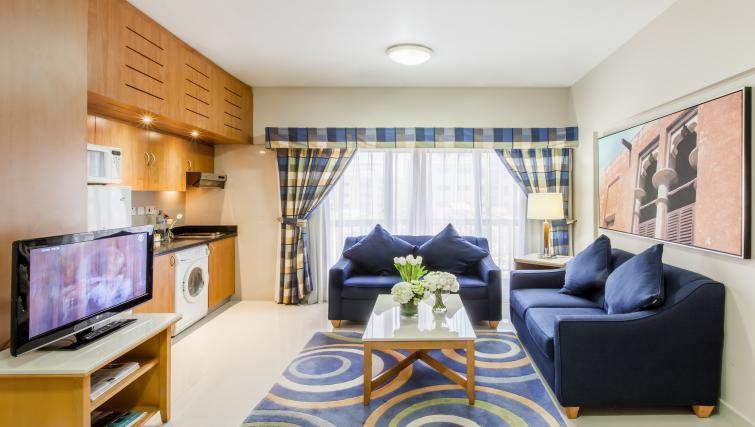 Colourful living area at Golden Sands Apartments