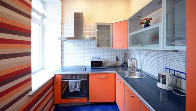 Vibrant kitchen in Basseynaya Apartment
