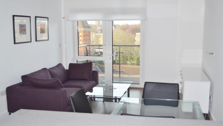 Delightful living area in Dickens Yard Apartments