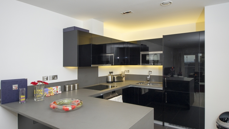 Stylish kitchen in Dickens Yard Apartments