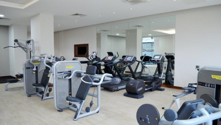 Equipped gym in Dickens Yard Apartments