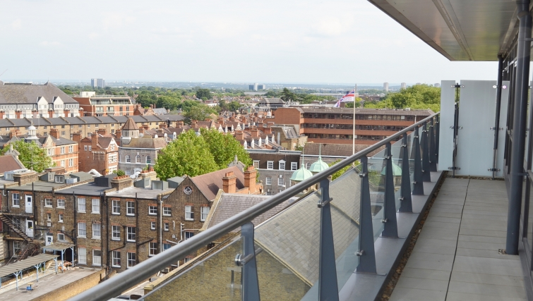Private balcony in Dickens Yard Apartments