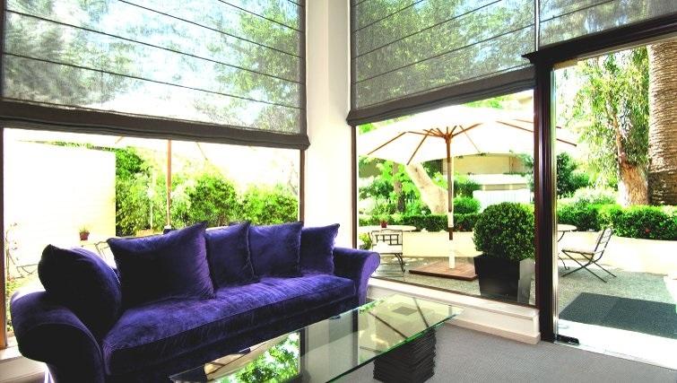 Contemporary communal lounge in The Kefalari Suites