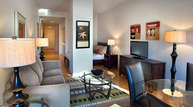 Modern living area in 90 Washington Street Apartments