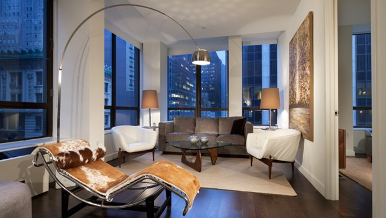 Stunning living area in 95 Wall Street Apartments