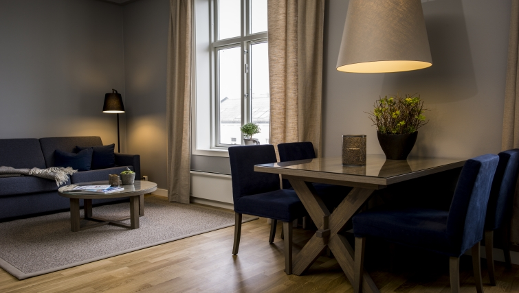 Modern living area in Oscargate Apartments