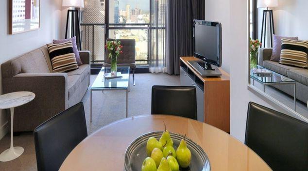Stylish living area at Adina Apartment Hotel Melbourne