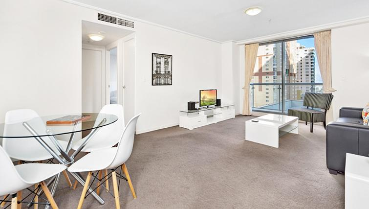 Spacious living area at Astra Hordern Towers Apartments