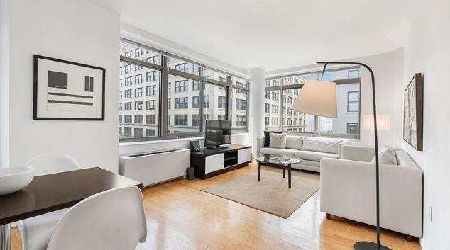 Living room at 600 Washington Street Apartments