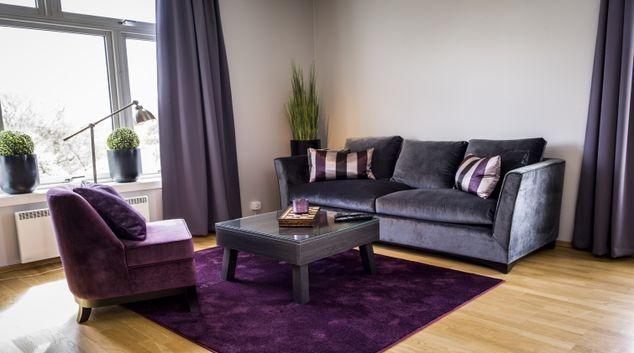 Classy living area in Underhaugsveien Apartments.