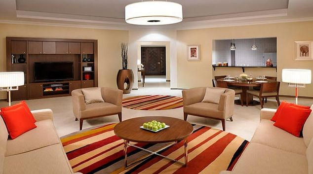 Spacious living area in Riyadh Executive Apartments