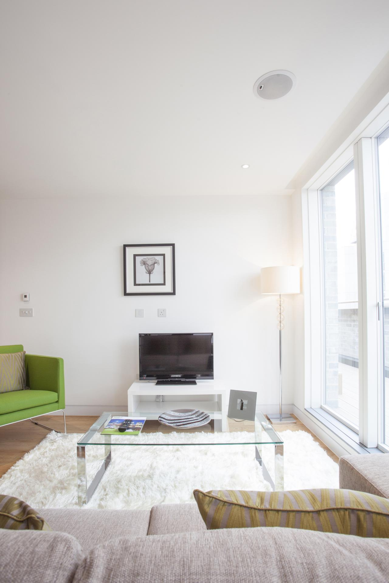 Modern lounge at London Square Apartments