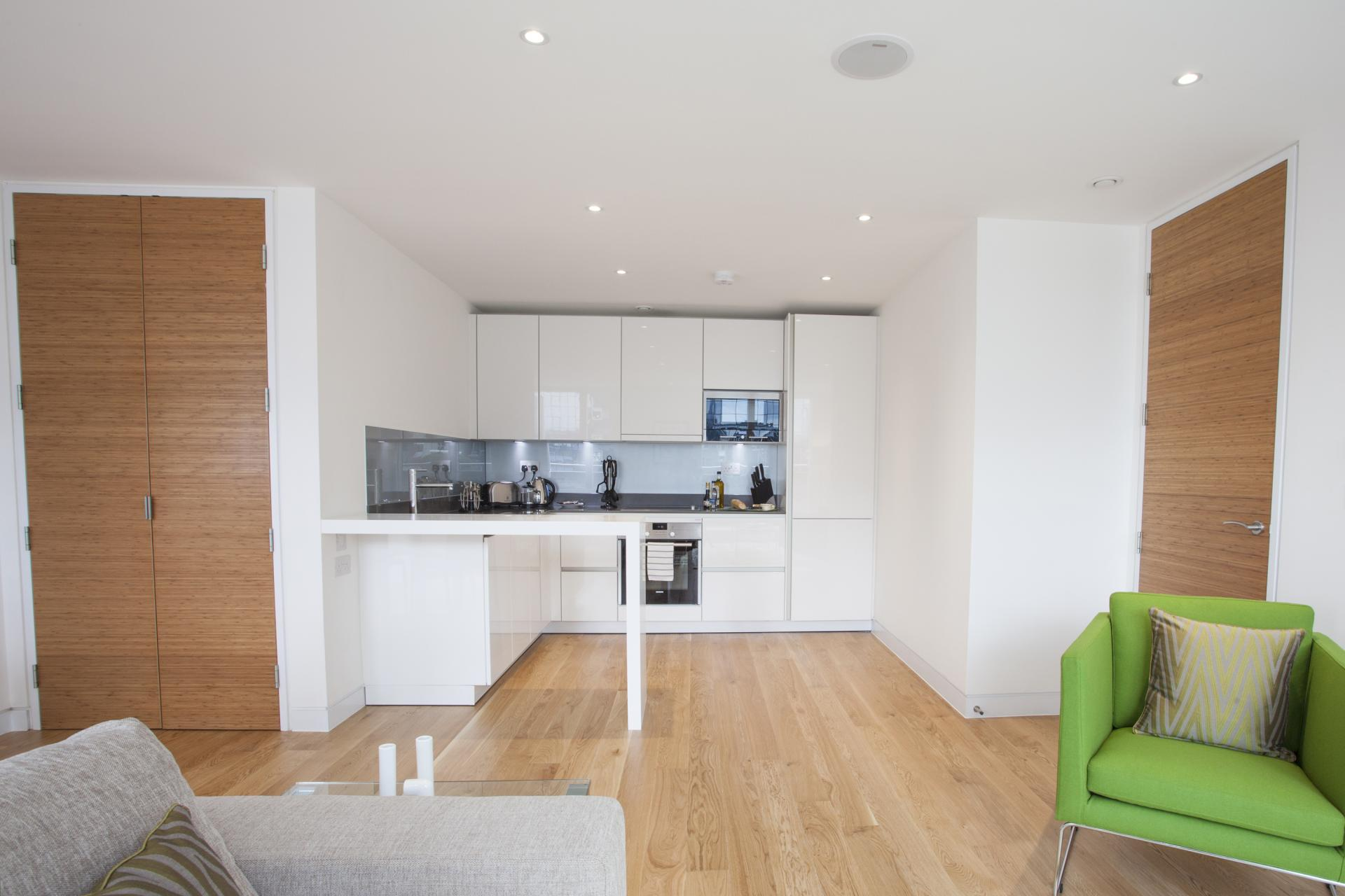 Open-plan living area at London Square Apartments