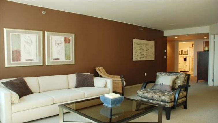 Sophisticated living area in Harbor Steps Apartments