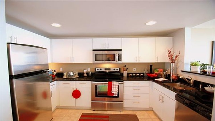 Practical kitchen in Harbor Steps Apartments
