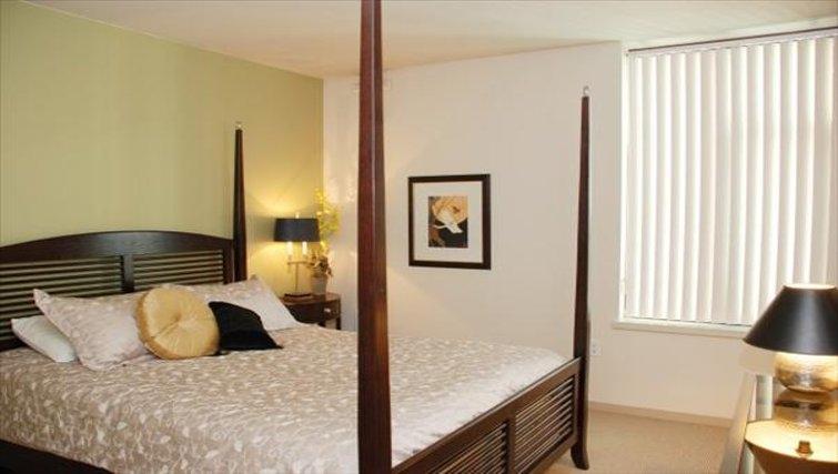 Relaxing bedroom in Harbor Steps Apartments