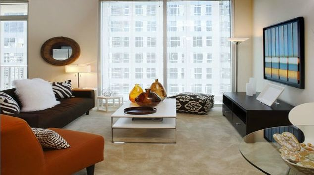 Stylish living area in Catalyst Apartments