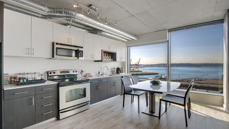 Modern kitchen in The Post Seattle Apartments