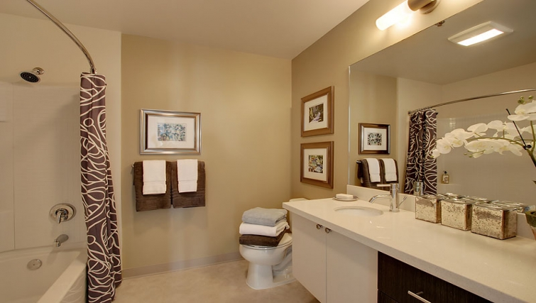 Stunning bathroom in The Post Seattle Apartments