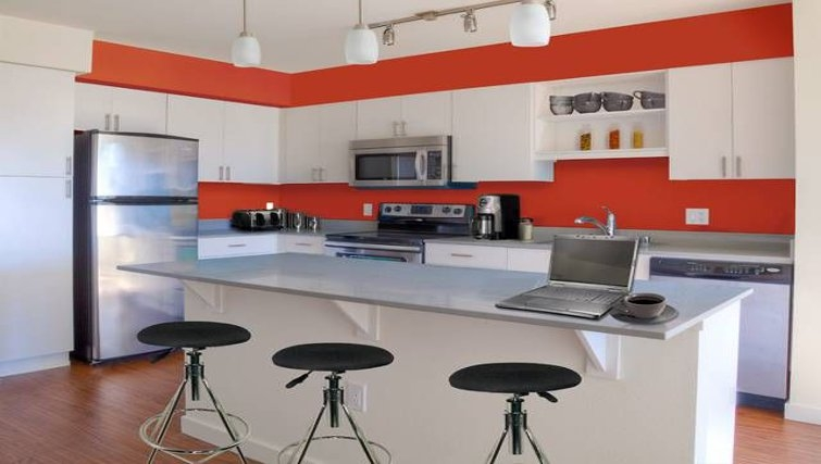 Vibrant kitchen in AVA Queen Anne Apartments