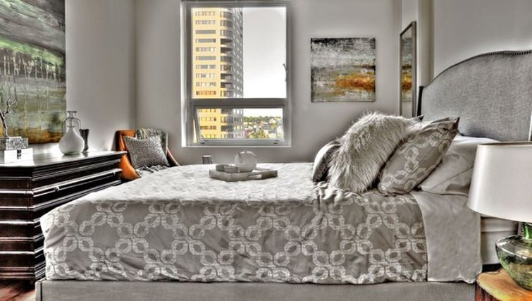 Luxurious bedroom in Coppins Well Apartments