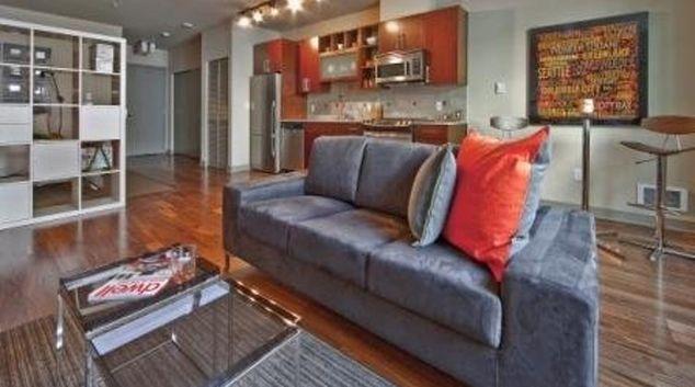Comfortable living area in Equinox Apartments