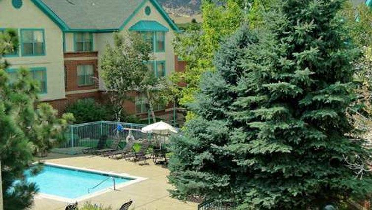 Shimmering pool in Homewood Suites Boulder