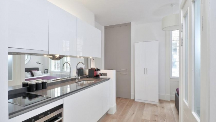 Immaculate kitchen in St Andrew Square Apartments