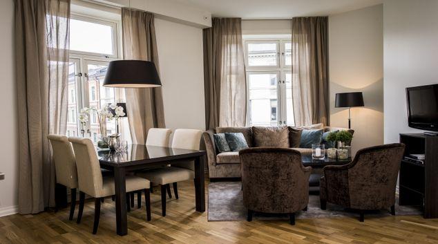 Gorgeous living area in Frydenlundgata Apartments