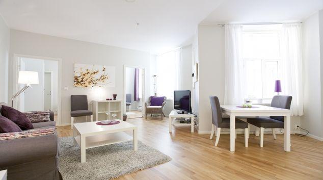 Beautiful living area in Parkveien Apartments