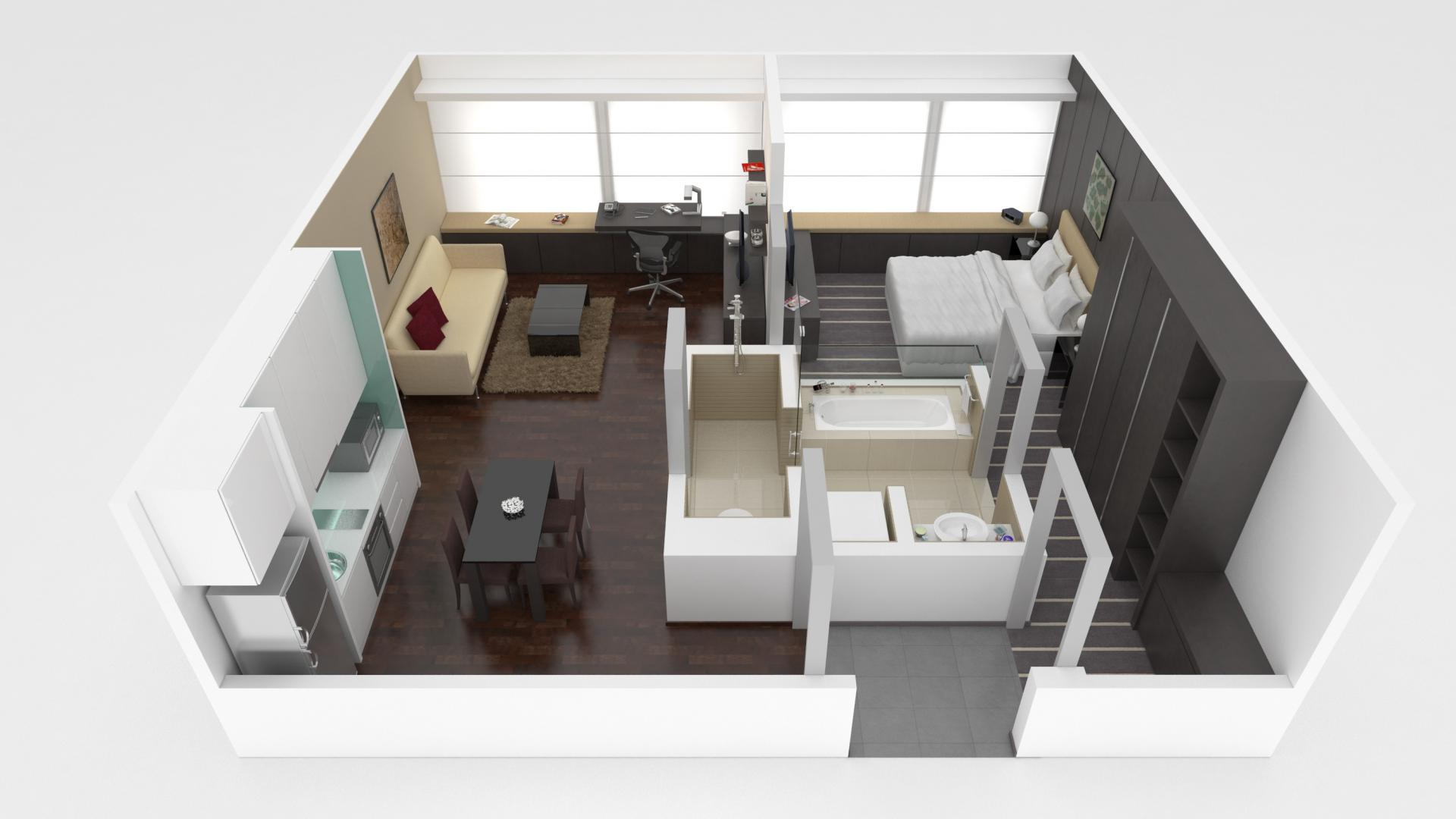 1 bed exec floor plan at Pan Pacific Serviced Suites Orchard