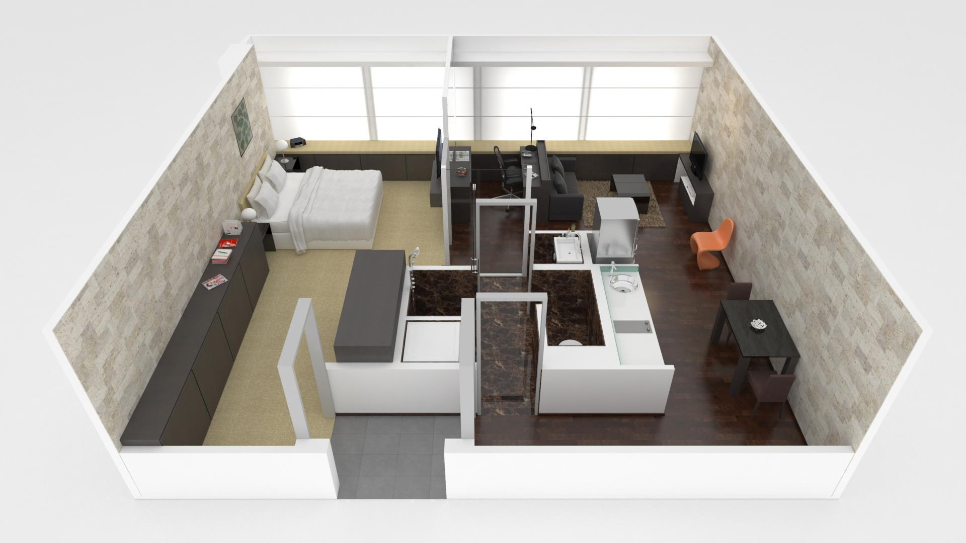 1 bed premium floor plan at Pan Pacific Serviced Suites Orchard