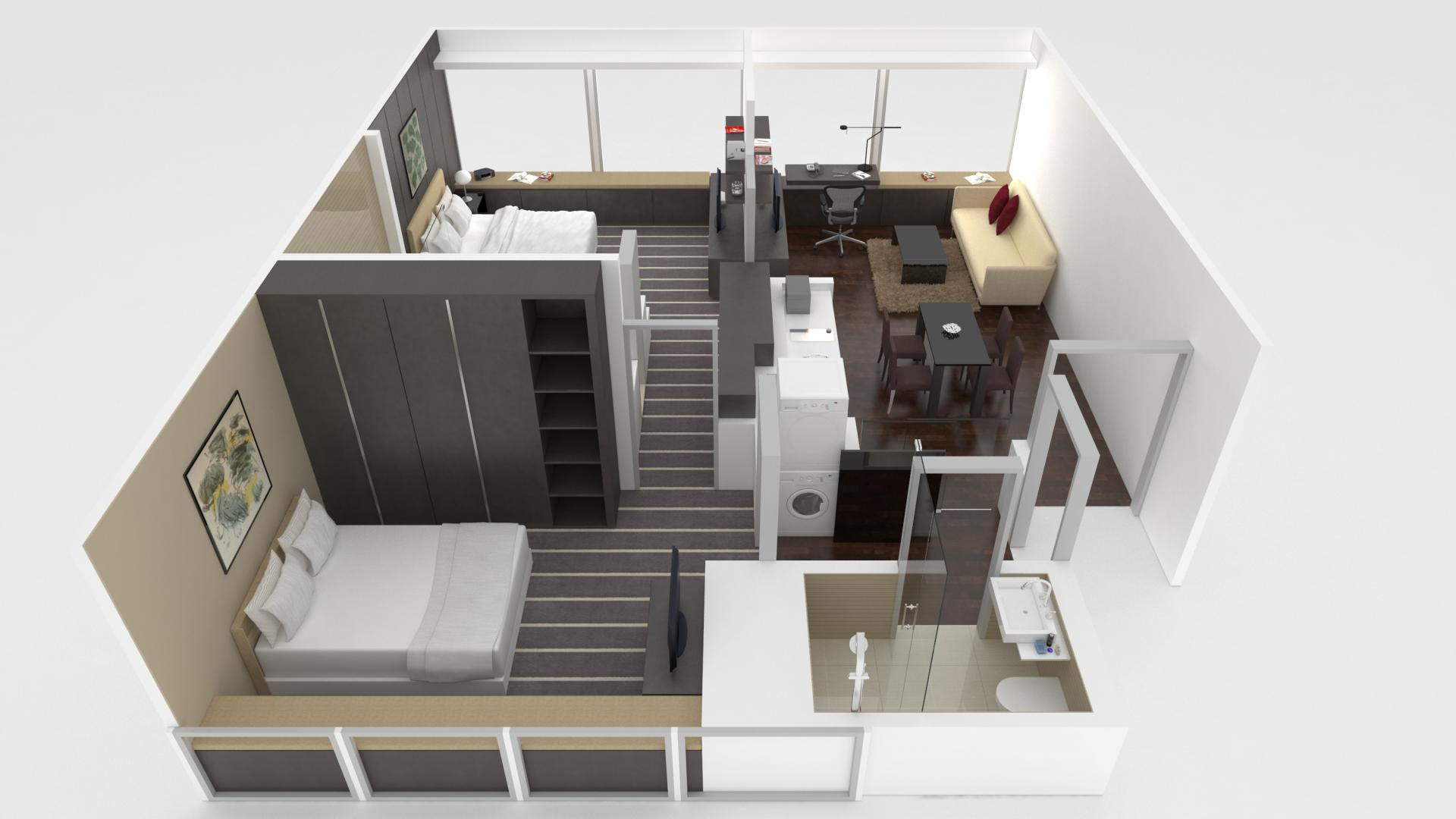 2 bed floor plan at Pan Pacific Serviced Suites Orchard