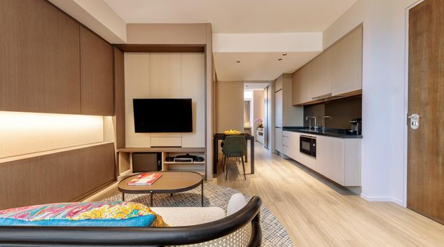 Living area at Pan Pacific Serviced Suites Orchard, Singapore