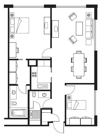 Floorplan 3 at Somerset Palace Apartments