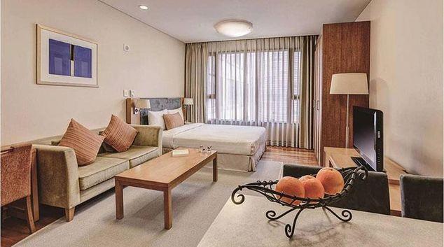 Bright bedroom at Somerset Palace Apartments