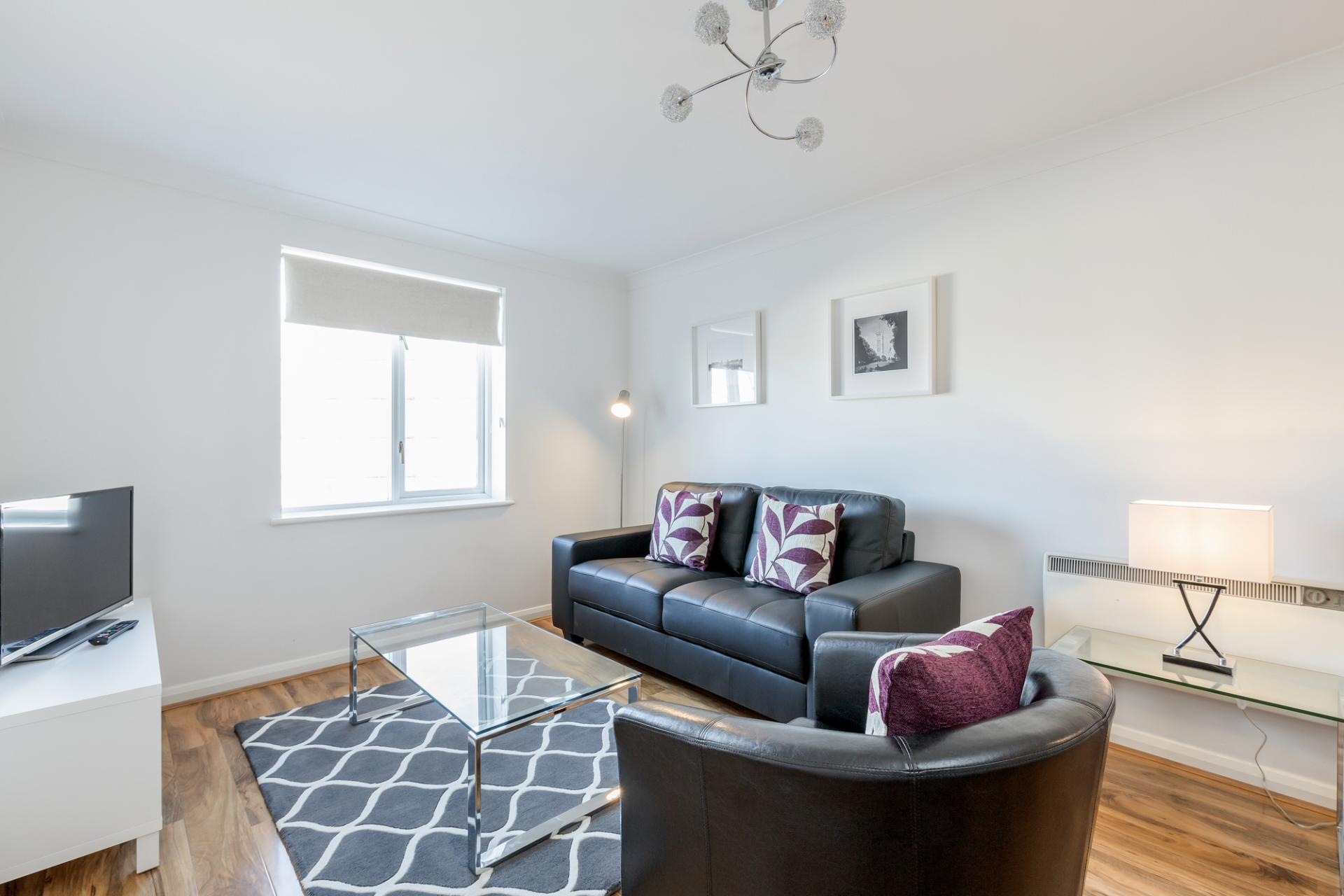 Living area at Regents Court, Kingston upon Thames, London