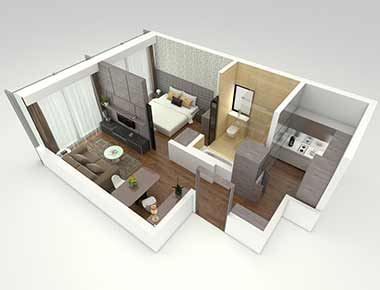 1 bed deluxe floor plan at Pan Pacific Serviced Suites Beach Road