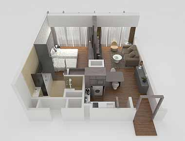 1 bed exec floor plan at Pan Pacific Serviced Suites Beach Road