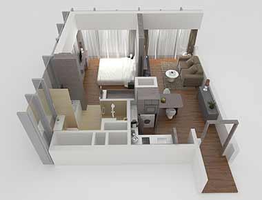 1 bed premium floor plan at Pan Pacific Serviced Suites Beach Road