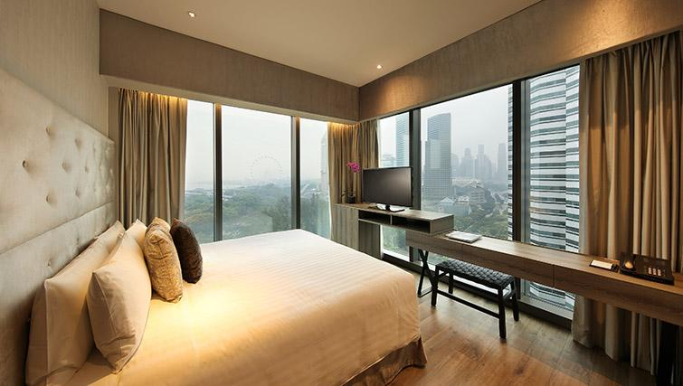 Double bedroom at Pan Pacific Serviced Suites Beach Road, Singapore