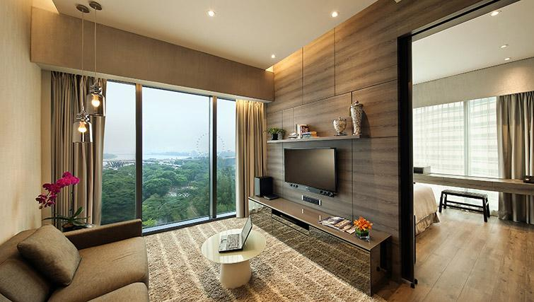Stylish living area at Pan Pacific Serviced Suites Beach Road, Singapore