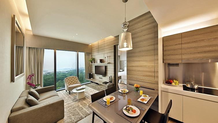 Open plan living area at Pan Pacific Serviced Suites Beach Road, Singapore