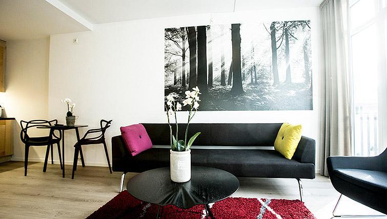 Living room at Kirkebakken Apartments