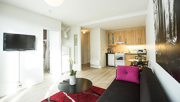 Living area at Kirkebakken Apartments