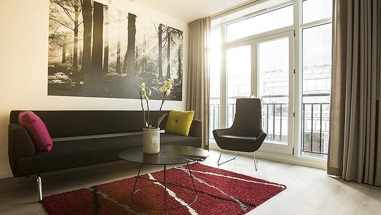 Bright living area at Kirkebakken Apartments