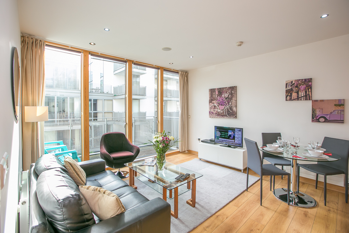 Bright living room at North Spencer Dock Apartments, Centre, Dublin