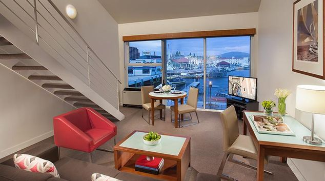 Modern Living Area in Somerset on the Pier Apartments
