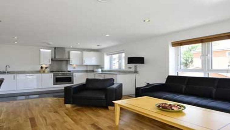 Contemporary living area in Borehamwood Apartments