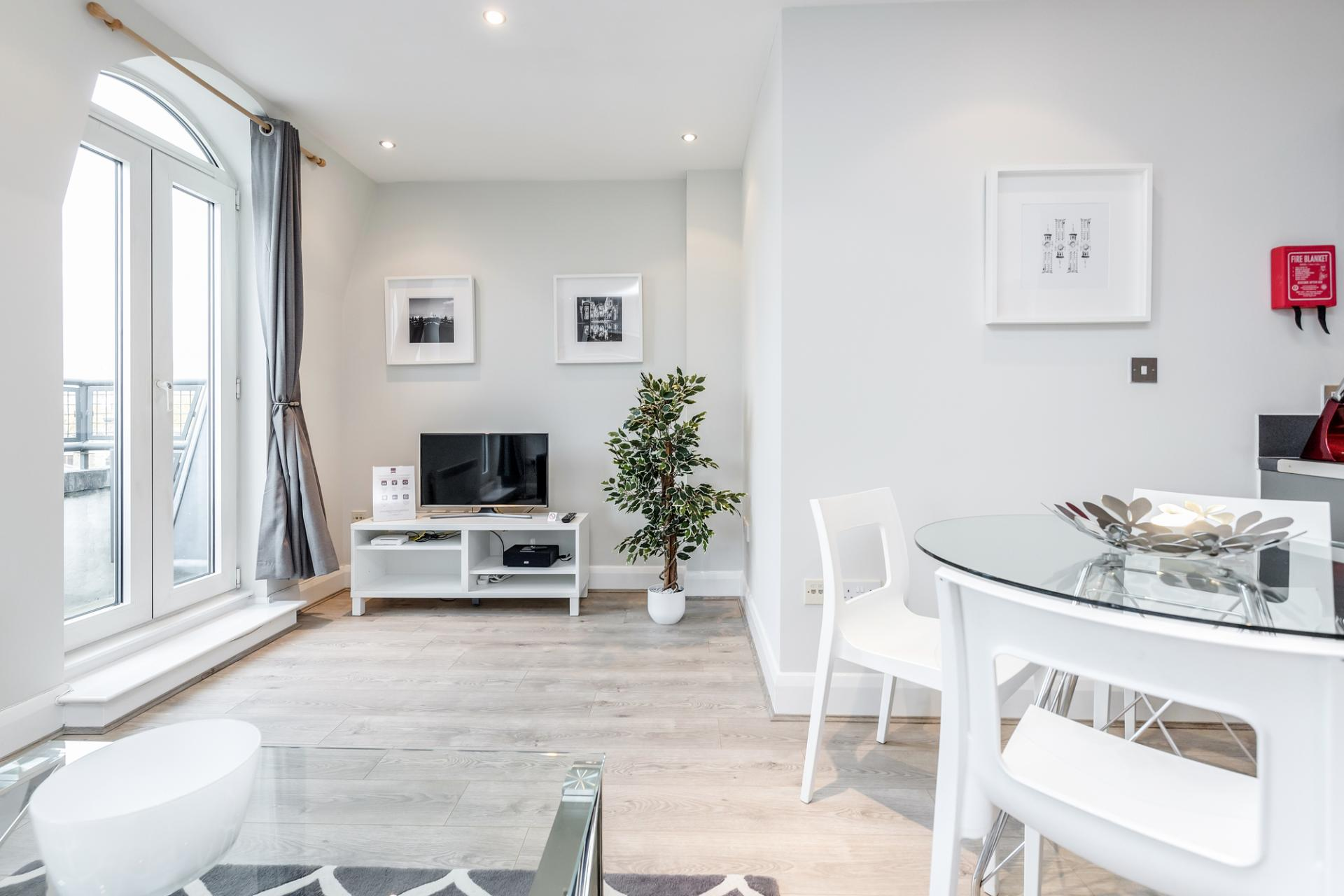 Living area at Thames Edge Apartments, Centre, Staines